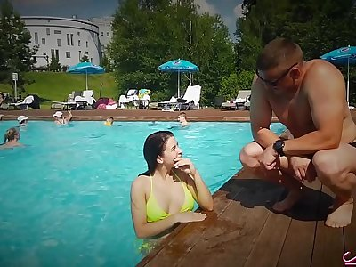 I met a Sexy Girl in the Pool added to Mechanical Fucking - Cum in Mouth