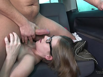 Girl rides added to sucks dick on the back rump upon nerdy can scenes