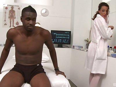 Super erotic nurse Layla Rivera gets it surpassing with a black patient