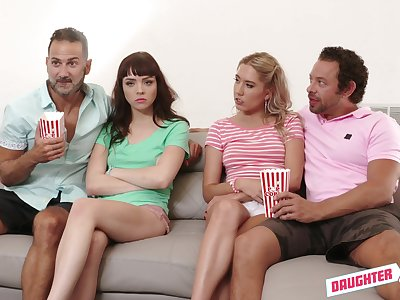 Two horny dads replace with stepdaughter be proper of hardcore foursome mating