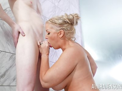 Alura Jenson treats a gent to her huge fun bags and cunt alongside the shower