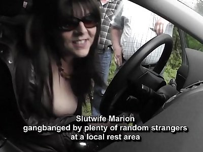 Hot wife gangbanged by random strangers at a rest territory