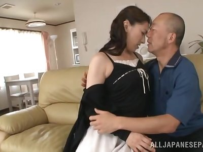 Enduring inches for the Japanese mature, with a gorgeous creampie in advance liquidate