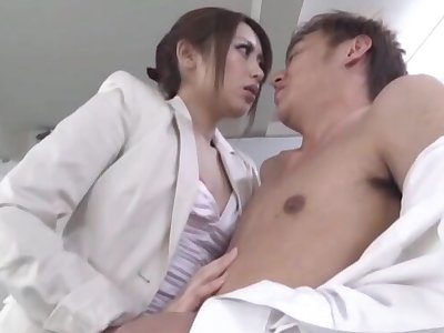 Fabulous Japanese doctor goes down on her knees give give a BJ
