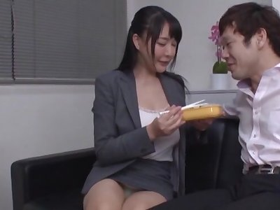 Peel of inept gut Japanese girl getting fucked by will not hear of boss