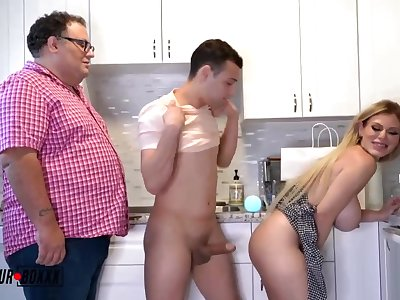 Astonishing light-haired COUGAR with phat, rigid breasts is juggling up coupled with wide while having casual fuck-fest