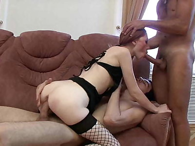 Slutty Redhead Avril Gets Her Tight Asshole Drilled By 2 Everlasting Dicks!