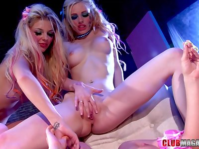 Kinky lesbian threesome with desirable pornstar Louise Lanewood