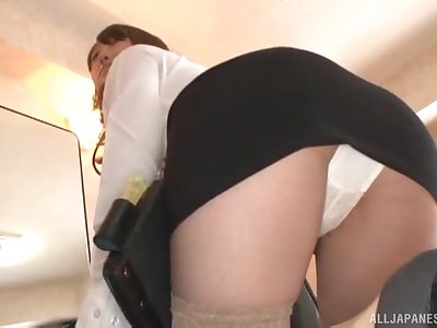 Office babe gets the dick in superficial Japanese POV