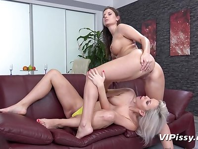 Milf pisses on a young ladies pretty face