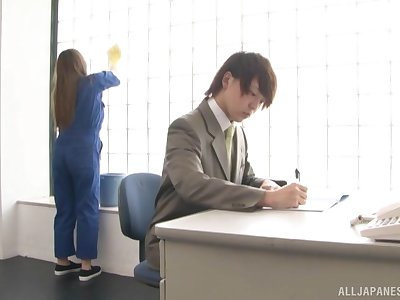 Japanese sexy maid adores a blowjob with her boss in his office