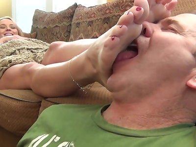 Blonde Couch Feet Worship