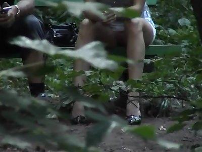 Voyeur 20 in the woods, ungenerous panties, only 4 Voyeurs (MrNo)