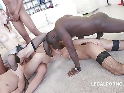 Interracial sluts Belle Clair and Tina Kay get their asses fucked in the matter of orgy