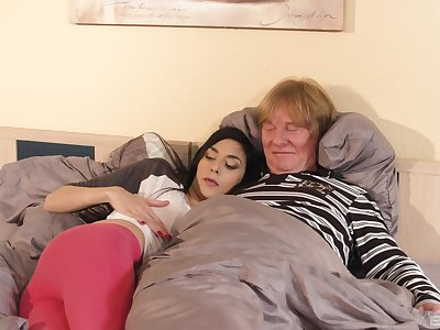 Ashley Ocean has sex with an older man in doggy style position