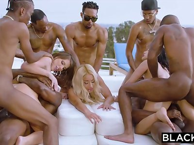 Teanna Trump, Adriana Chechik with an increment of Vicki Pursue are orgying during a vacation, with dark-hued men