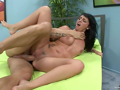 First time she tries cuckold and she's loving it