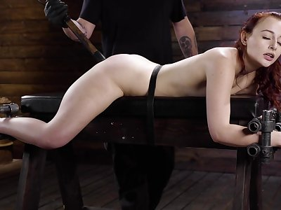 Ginger slut plays submissive apropos scenes of BDSM porn