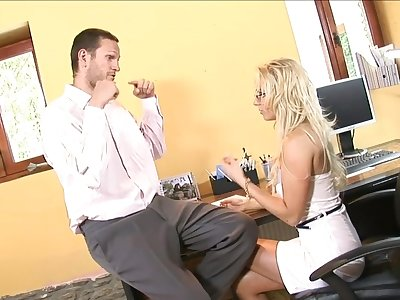 Blonde secretary Carla Cox down glasses fucked and gets a cumshot