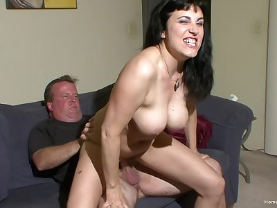 Mature slut with fake tits loves having their way pussy fucked hard