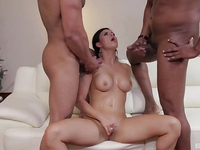 Billie Star drops on her knees for double penetration interracial sex